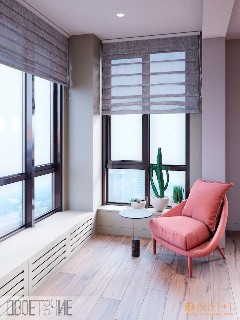 粉红和绿配色的家居装修设计
