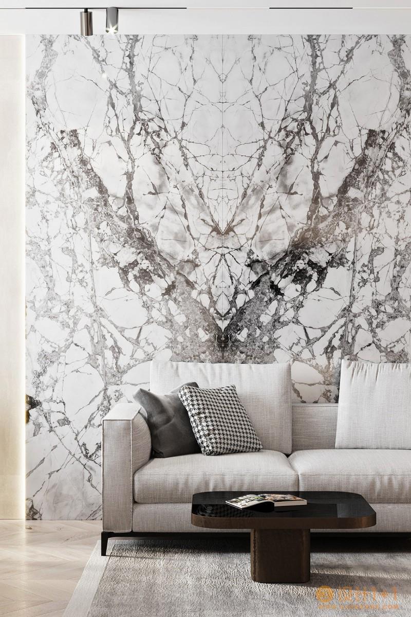 白色大理石和金色配饰打造的豪华家居