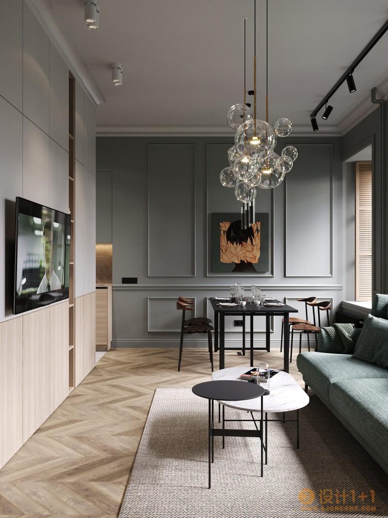 圣彼得堡精致时尚配色的75平米公寓