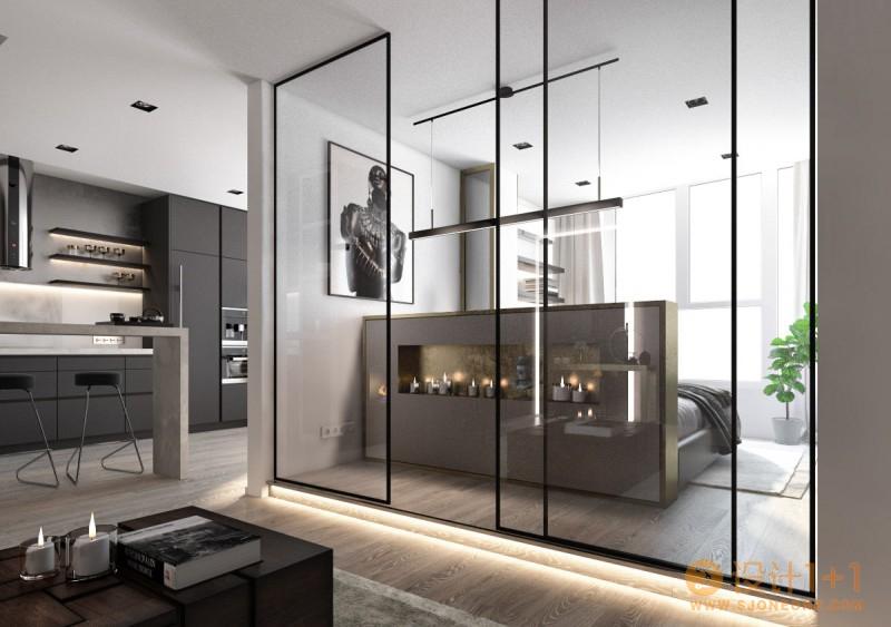 灰色中的一抹红:3个高颜值简约风格家居装修设计