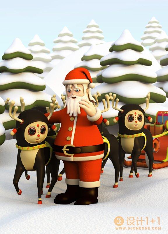 圣诞3D插画作品欣赏