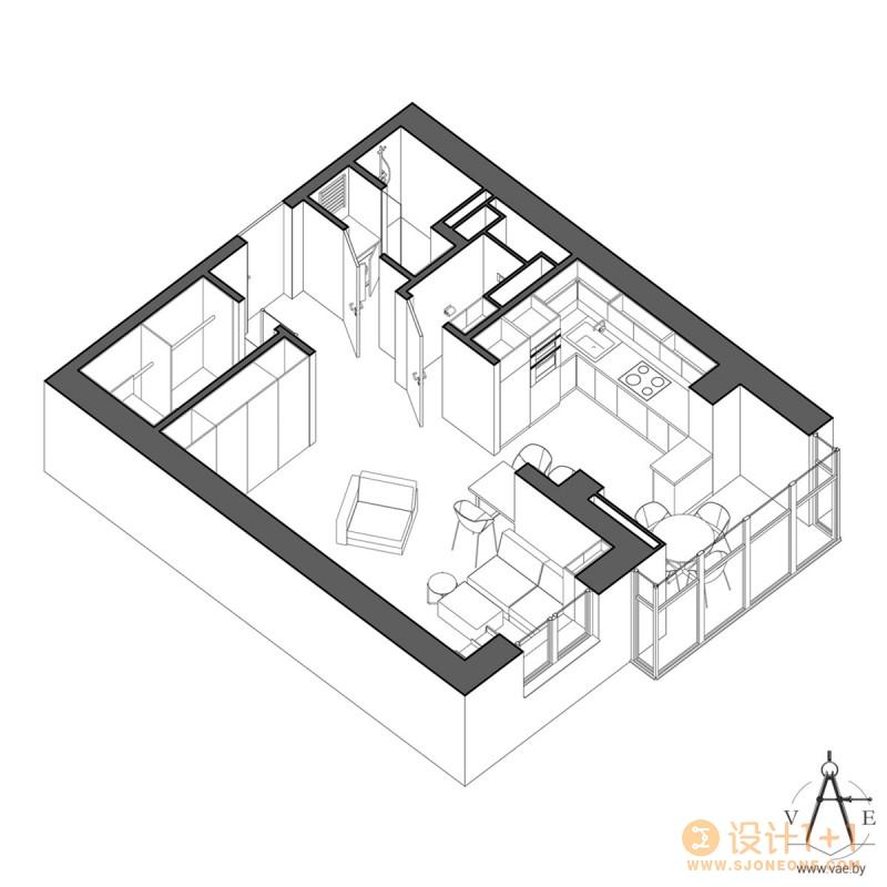 紧凑的开放式一居室公寓装修