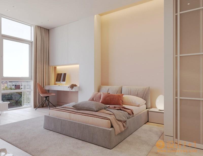 温暖细腻的粉+灰 打造的精美公寓
