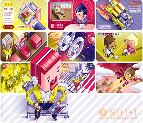 Lee Hasler系列矢量风格插画:计算机和科技