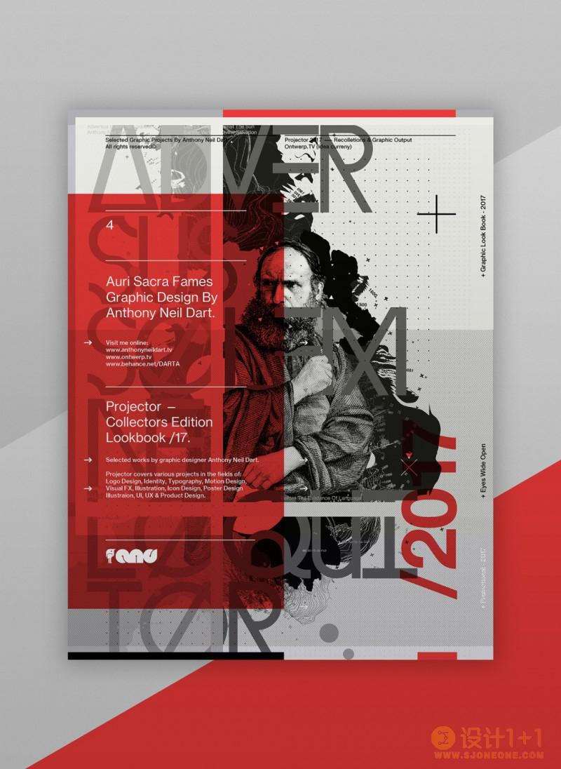 红、白、灰的组合排版: Projector Posters /17海报设计