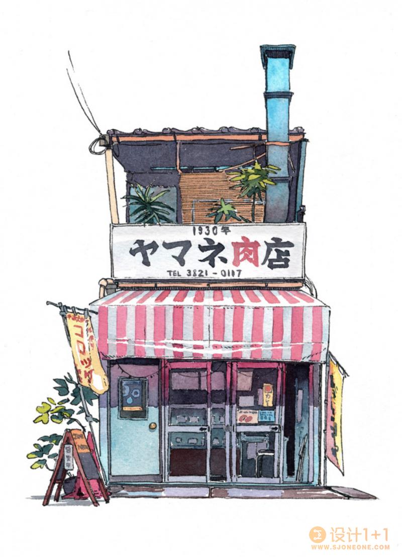 细腻的线条和色彩:Mateusz Urbanowicz水彩风格的东京商店
