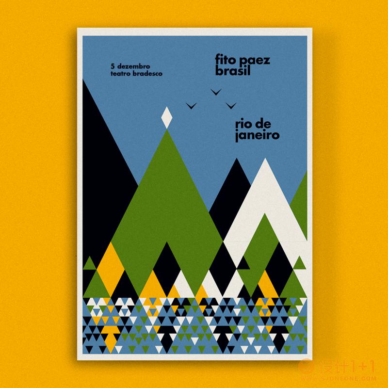 抽象的几何图案:Fito Paez巴西巡演海报设计
