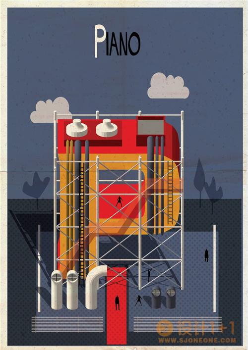 Federico Babina: 字母组成的经典建筑插画