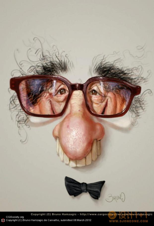 BrunoHamzagicdeCarvalho幽默的3D人物肖像漫画