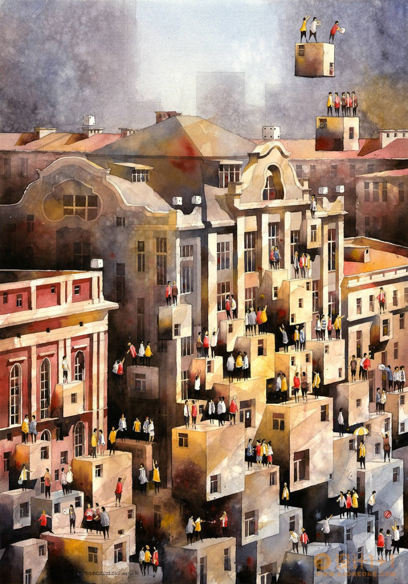 Tytus Brzozowski富有想象力的建筑水彩画